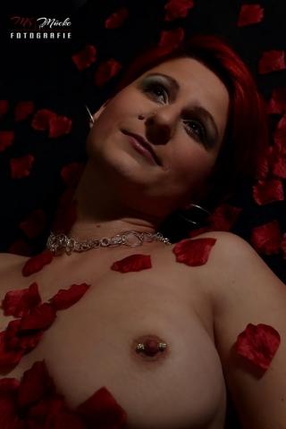 Teil Akt Aufnahme in liegender Pose ,it roten Rosenblüten .